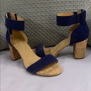 Royal Blue Ankle Strap Cork Block Heels